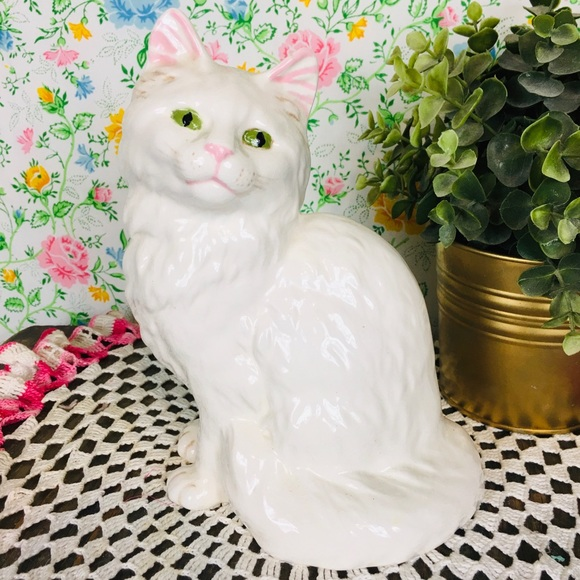 Vintage 80s 90s Ceramic Cat Figurine White